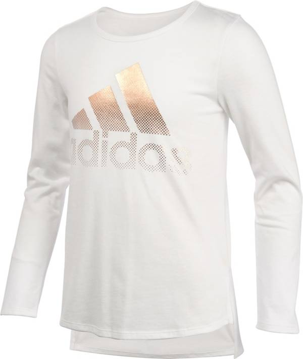 adidas Little Girls' Curved Hem Long Sleeve Shirt product image