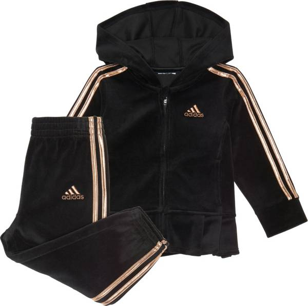 adidas Little Girls' Zip Front Velour Pleated Jacket and Pants Set product image