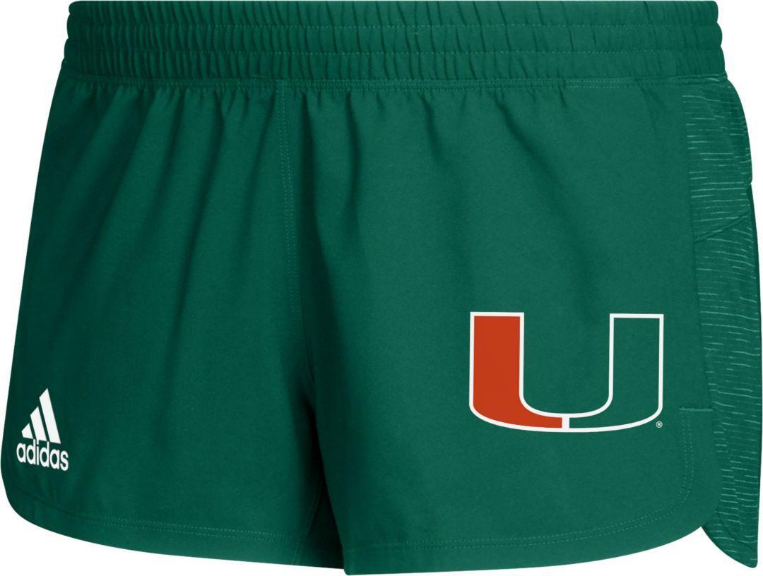 adidas Women's Miami Hurricanes Green Game Mode Training Shorts