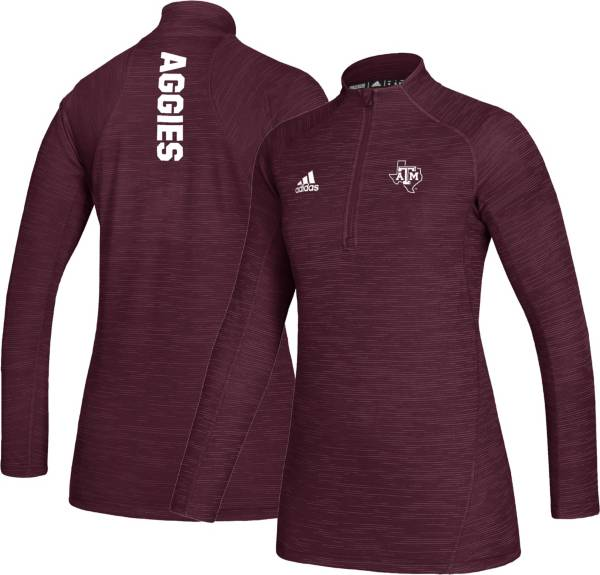adidas Women's Texas A&M Aggies Maroon Game Mode Sideline Quarter-Zip Performance Shirt product image
