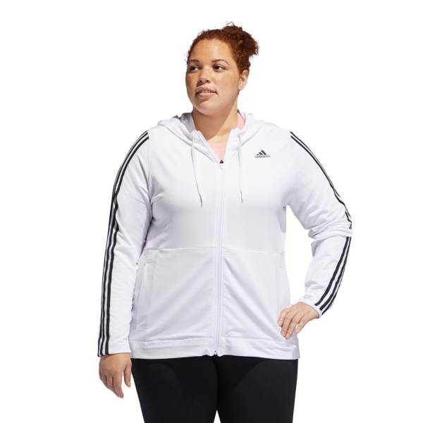 adidas Women's Plus 3 Stripe Knit Full-Zip Hoodie product image