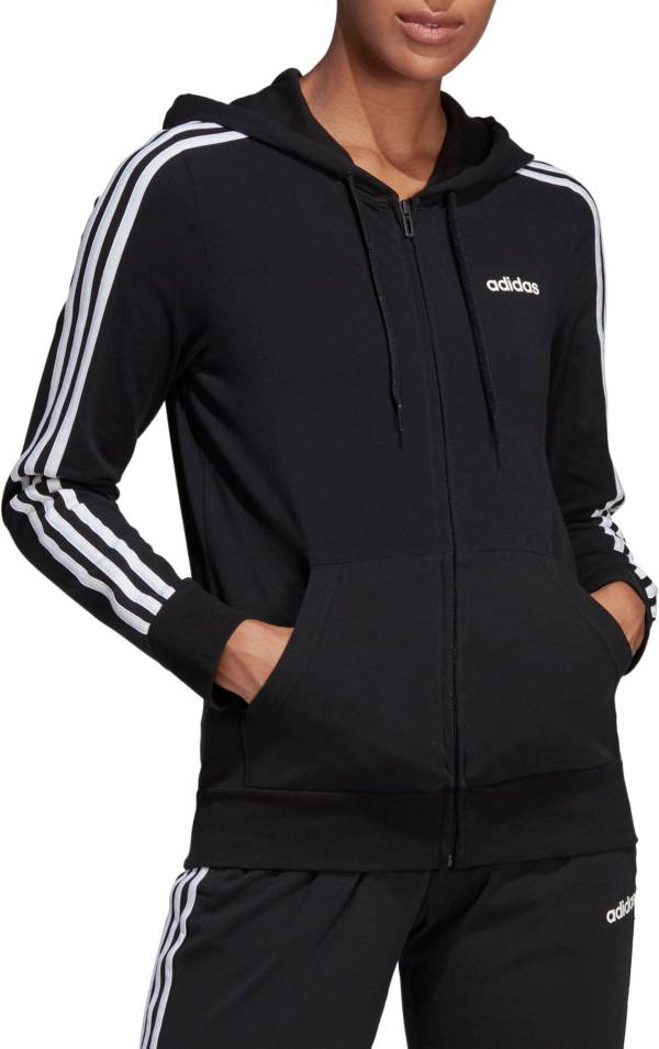 alto triunfante harina  adidas Women's Essentials 3-Stripes Jersey Full Zip Hoodie | DICK'S  Sporting Goods