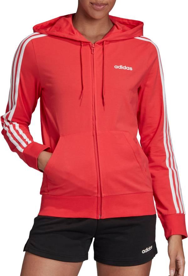 adidas Women's Essentials 3-Stripes Jersey Full Zip Hoodie ...