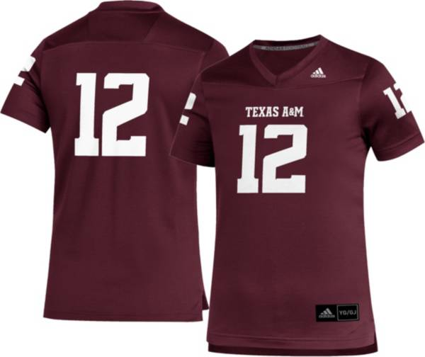 adidas Youth Texas A&M Aggies #12 Maroon Replica Football Jersey product image