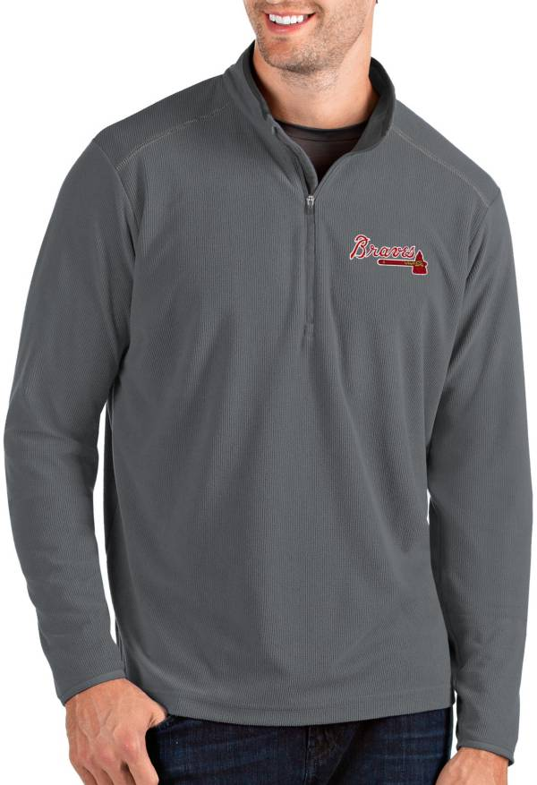 Antigua Men's Atlanta Braves Grey Glacier Quarter-Zip Pullover product image
