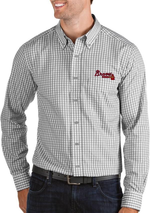 Antigua Men's Atlanta Braves Structure Button-Up Grey Long Sleeve Shirt product image