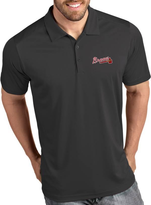 Antigua Men's Atlanta Braves Tribute Grey Performance  Polo product image