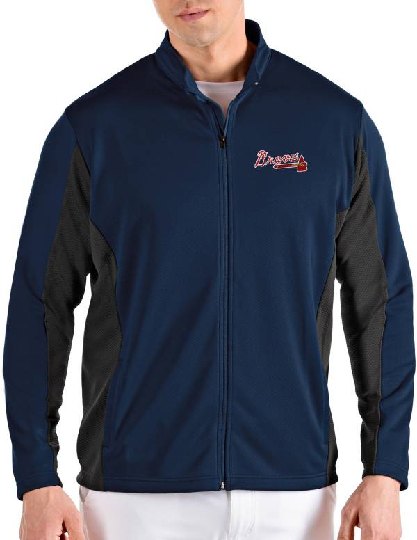 Antigua Men's Atlanta Braves Navy Passage Full-Zip Jacket product image