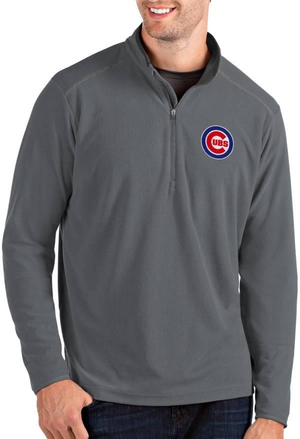 Antigua Men's Chicago Cubs Grey Glacier Quarter-Zip Pullover product image