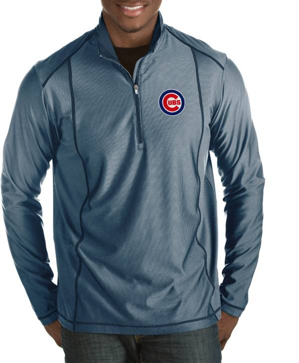 Antigua Men's Chicago Cubs Tempo Navy Quarter-Zip Pullover product image