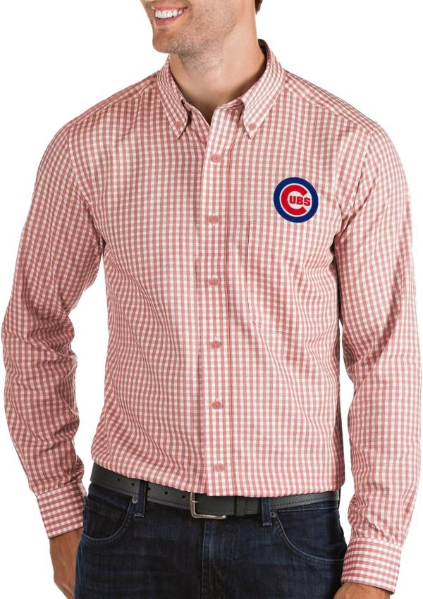 Antigua Men's Chicago Cubs Structure Button-Up Red Long Sleeve Shirt product image