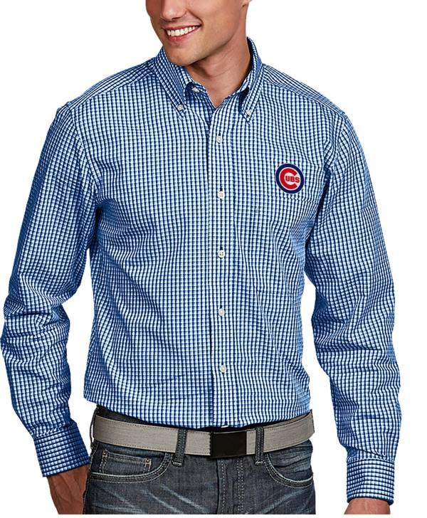 Antigua Men's Chicago Cubs Associate Royal Long Sleeve Button Down Shirt product image