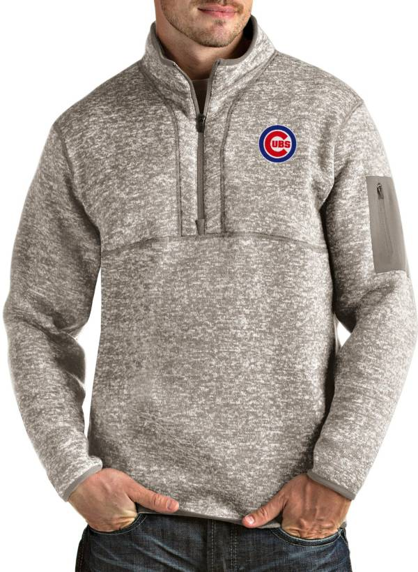 Antigua Men's Chicago Cubs Oatmeal Fortune Half-Zip Pullover product image