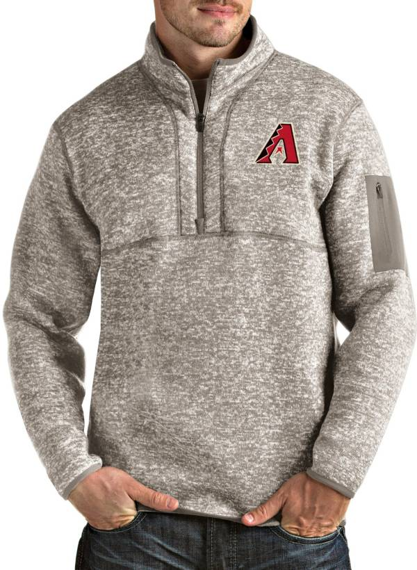 Antigua Men's Arizona Diamondbacks Oatmeal Fortune Half-Zip Pullover product image