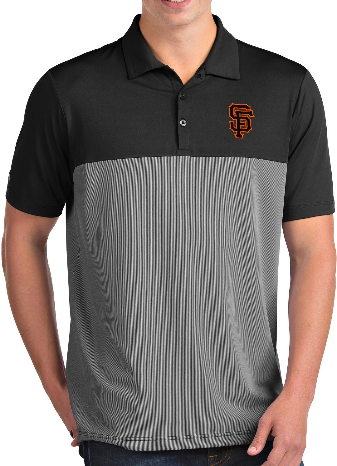 80dc9ddb Antigua Men's San Francisco Giants Venture Black Performance Polo.  noImageFound. 1