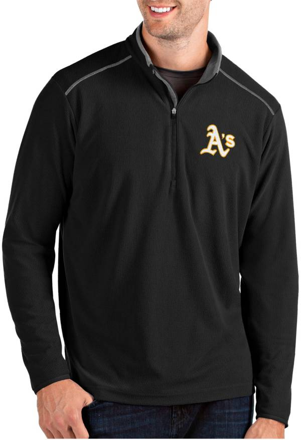 Antigua Men's Oakland Athletics Black Glacier Quarter-Zip Pullover product image
