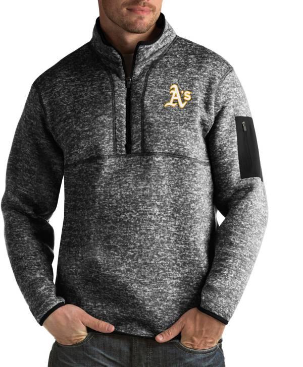 Antigua Men's Oakland Athletics Fortune Black Half-Zip Pullover product image