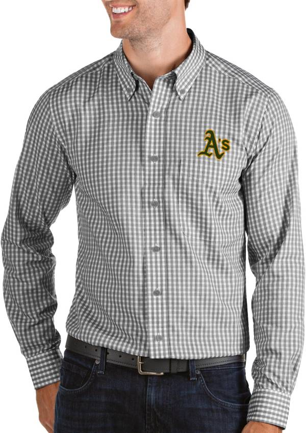 Antigua Men's Oakland Athletics Structure Black Long Sleeve Button Down Shirt product image