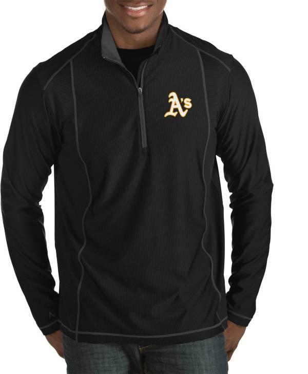 Antigua Men's Oakland Athletics Tempo Black Quarter-Zip Pullover product image