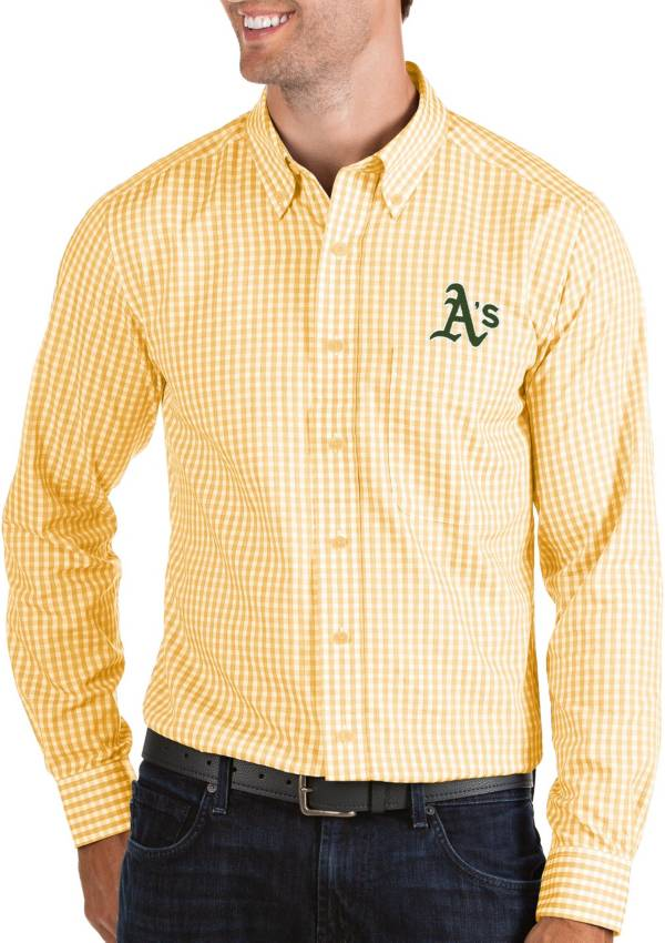 Antigua Men's Oakland Athletics Structure Button-Up Gold Long Sleeve Button Down Shirt product image