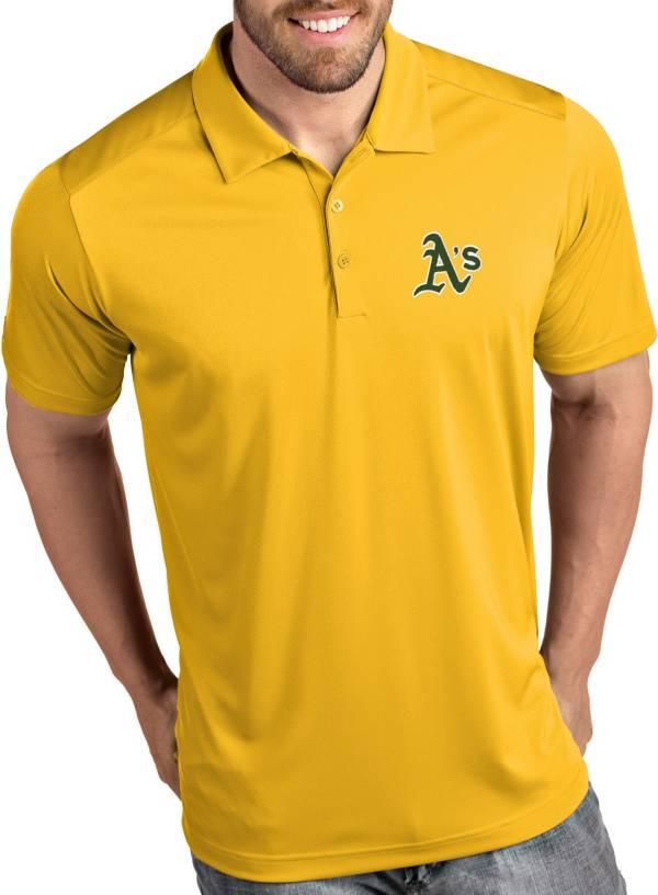 Antigua Men's Oakland Athletics Tribute Gold Performance  Polo product image