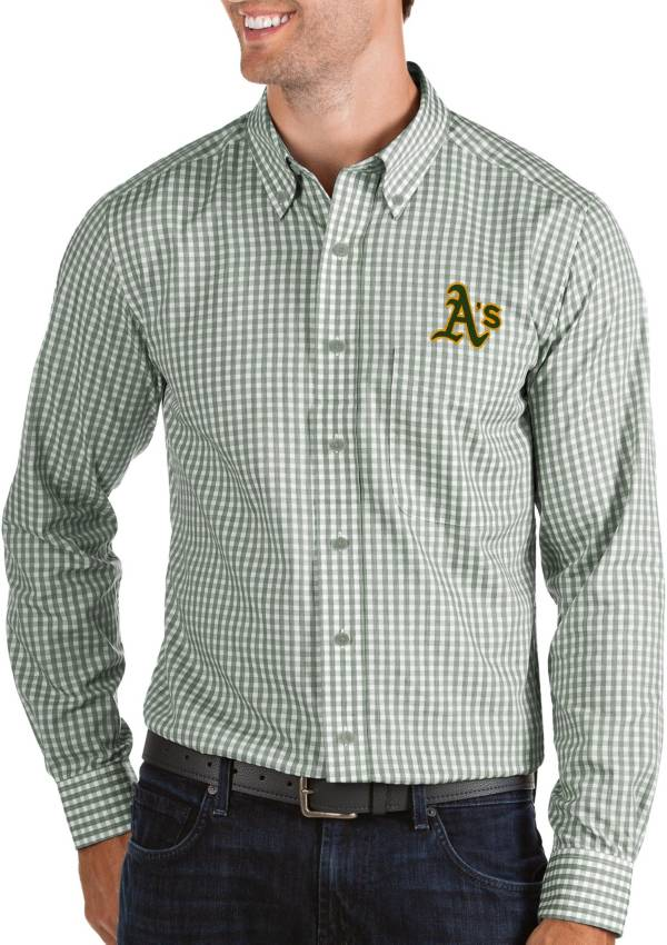 Antigua Men's Oakland Athletics Structure Button-Up Green Long Sleeve Shirt product image