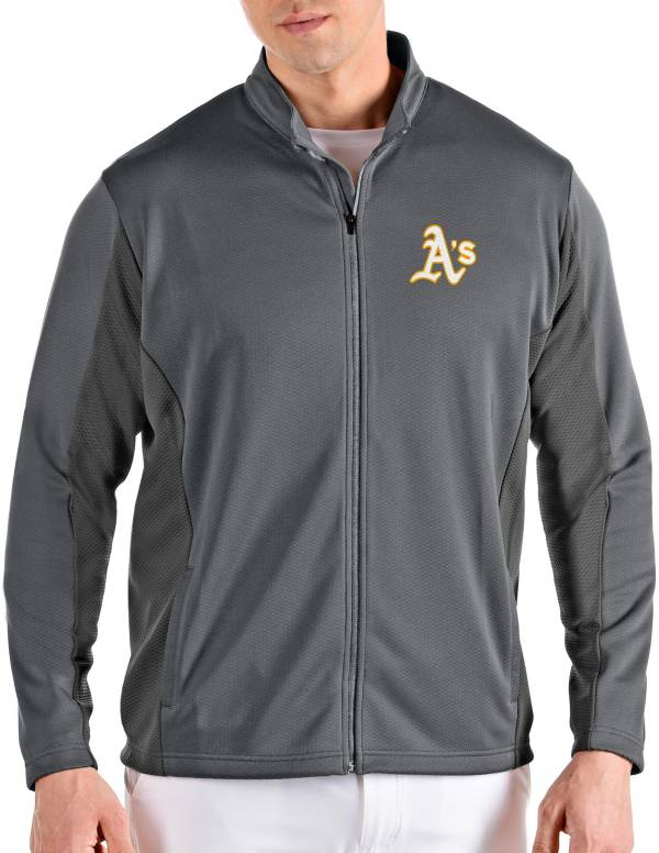 Antigua Men's Oakland Athletics Grey Passage Full-Zip Jacket product image