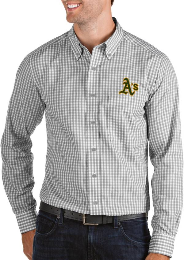 Antigua Men's Oakland Athletics Structure Button-Up Grey Long Sleeve Shirt product image