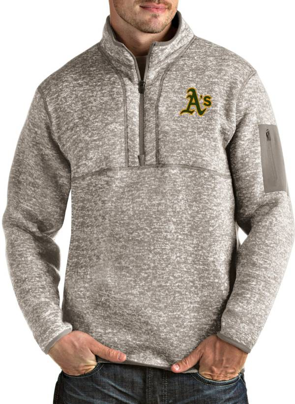 Antigua Men's Oakland Athletics Oatmeal Fortune Half-Zip Pullover product image