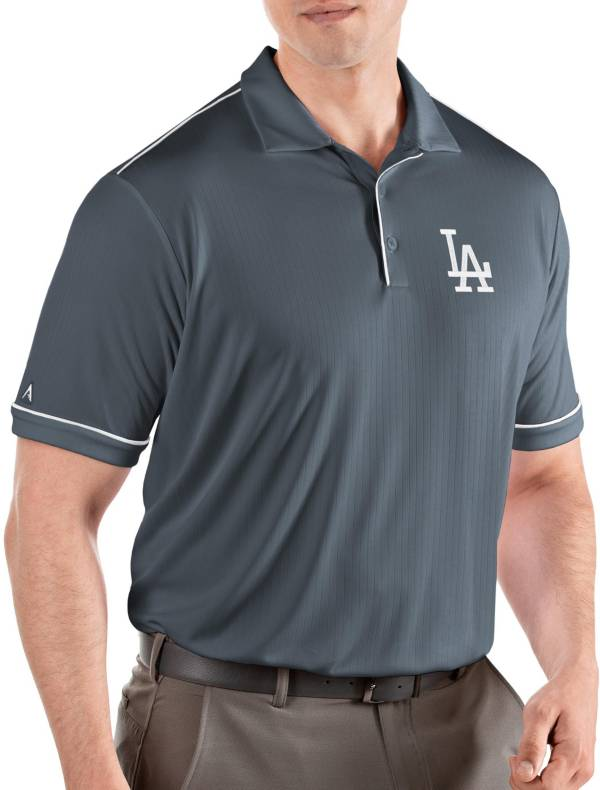 Antigua Men's Los Angeles Dodgers Salute Grey Performance Polo product image