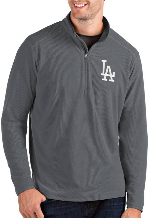 Antigua Men's Los Angeles Dodgers Grey Glacier Quarter-Zip Pullover product image