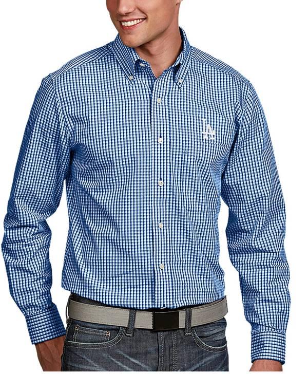 Antigua Men's Los Angeles Dodgers Associate Royal Long Sleeve Button Down Shirt product image