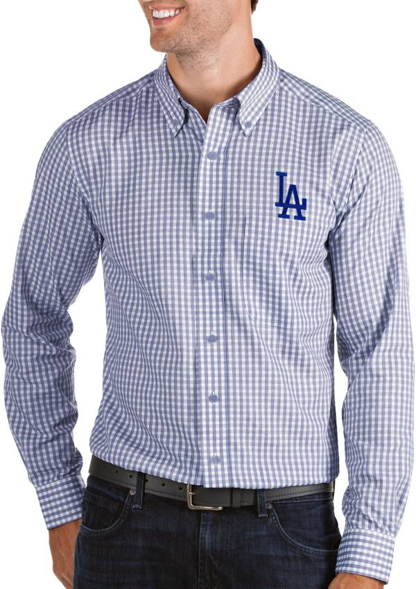 Antigua Men's Los Angeles Dodgers Structure Royal Long Sleeve Button Down Shirt product image