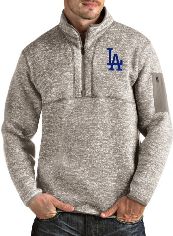 Antigua Men's Los Angeles Dodgers Oatmeal Fortune Half-Zip Pullover product image