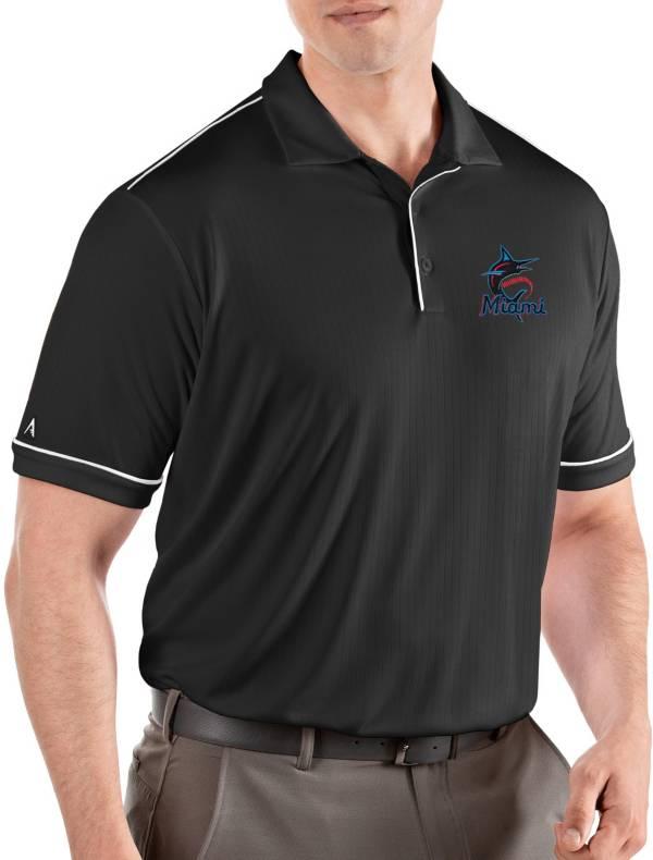 Antigua Men's Miami Marlins Salute Black Performance Polo product image