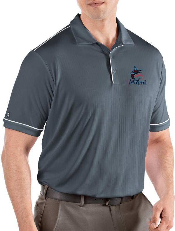 Antigua Men's Miami Marlins Salute Grey Performance Polo product image