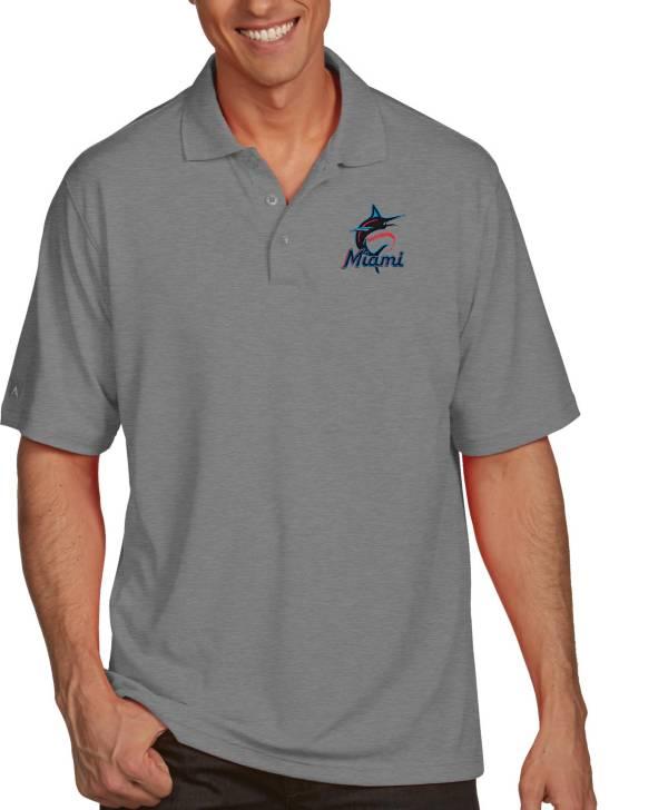 Antigua Men's Miami Marlins Pique Grey Performance Polo product image