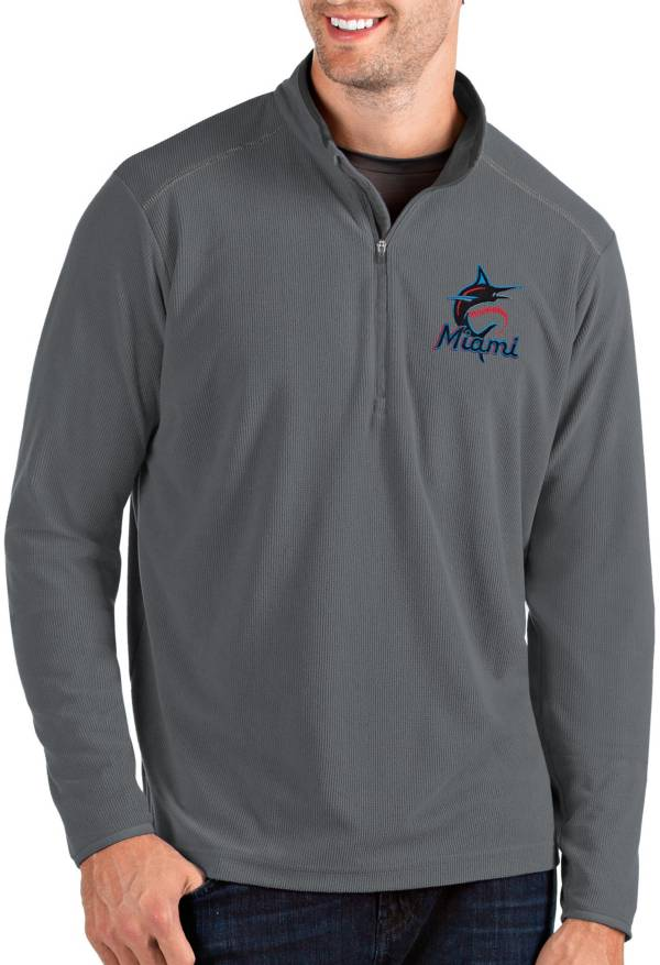 Antigua Men's Miami Marlins Grey Glacier Quarter-Zip Pullover product image