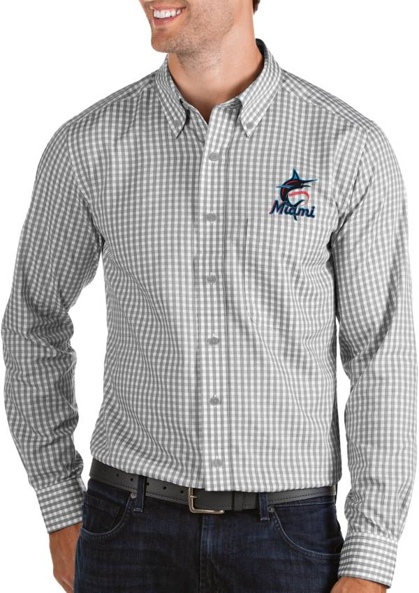 Antigua Men's Miami Marlins Structure Button-Up Grey Long Sleeve Shirt product image