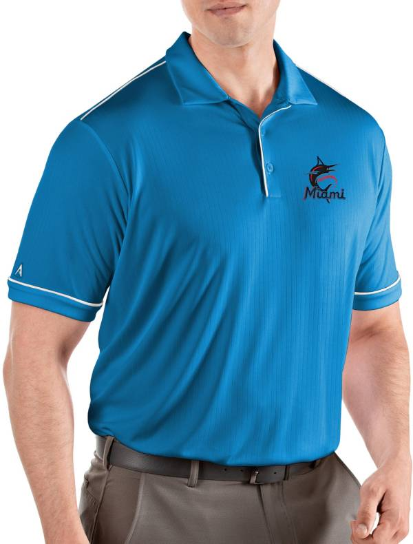 Antigua Men's Miami Marlins Salute Aqua Performance Polo product image