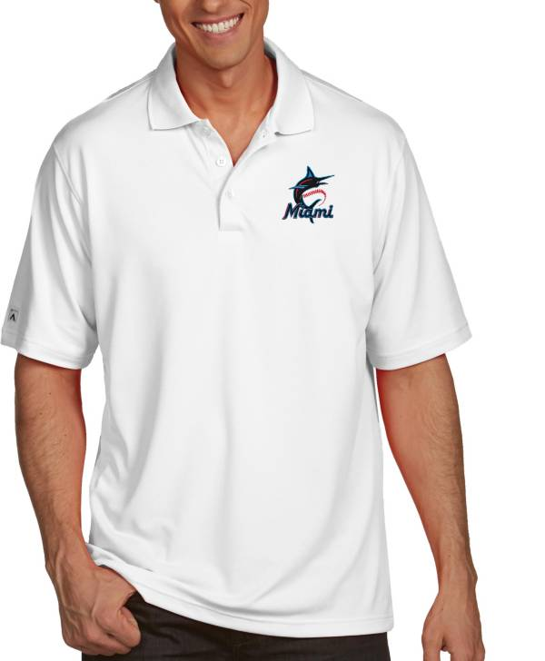 Antigua Men's Miami Marlins Pique White Performance Polo product image