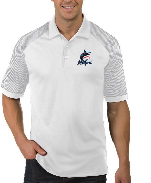 Antigua Men's Miami Marlins Engage White Polo product image