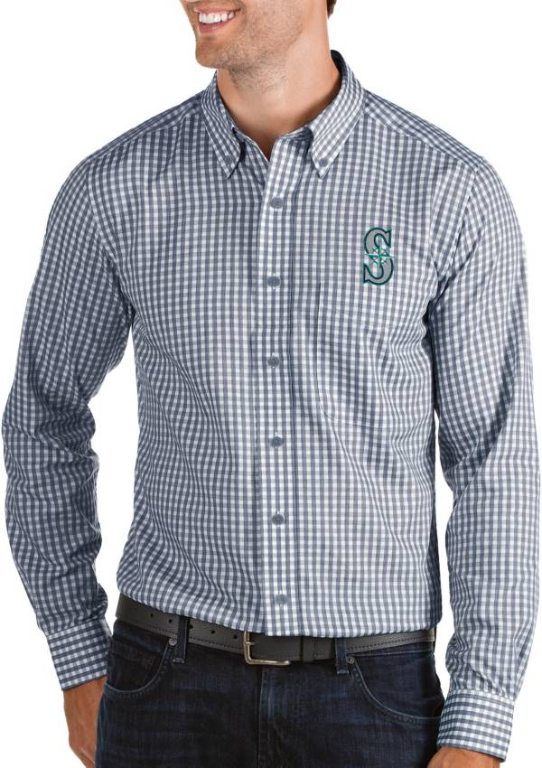 Antigua Men's Seattle Mariners Structure Navy Long Sleeve Button Down Shirt product image