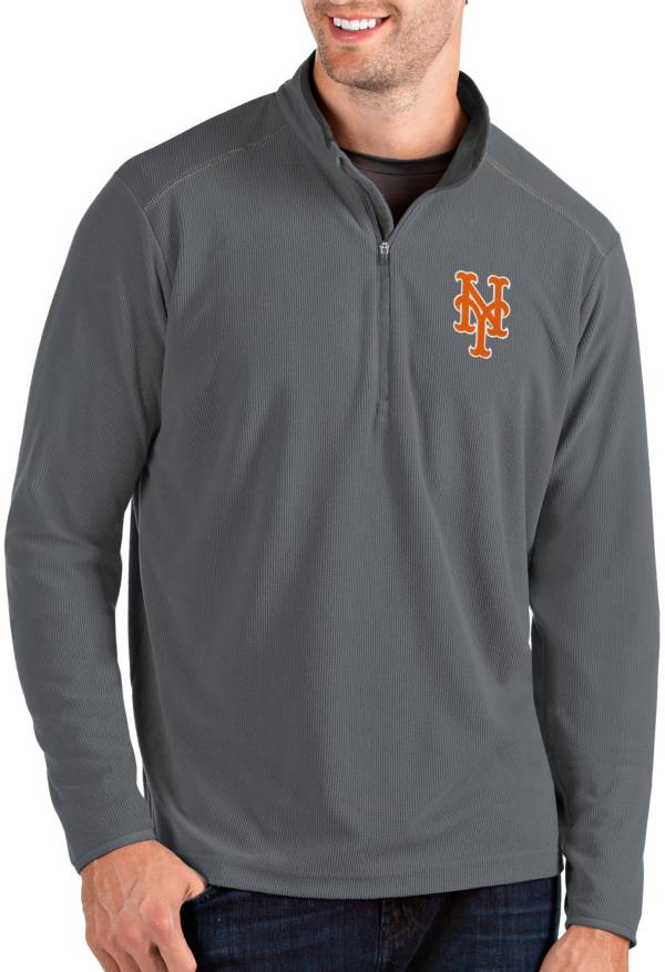 Antigua Men's New York Mets Grey Glacier Quarter-Zip Pullover product image