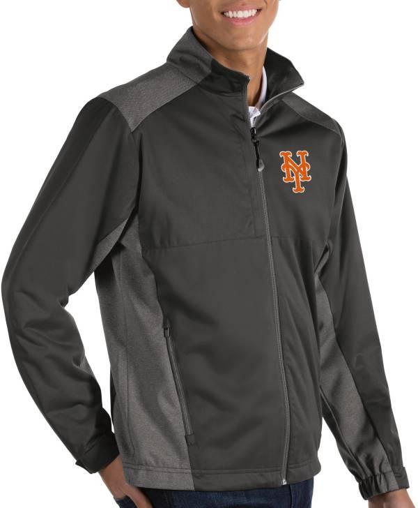 Antigua Men's New York Mets Revolve Grey Full-Zip Jacket product image