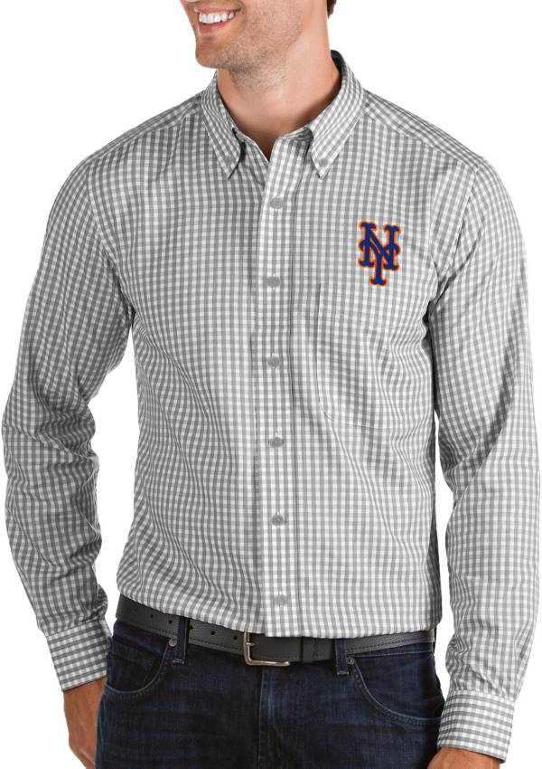 Antigua Men's New York Mets Structure Button-Up Grey Long Sleeve Shirt product image