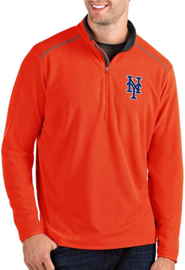 Antigua Men's New York Mets Orange Glacier Quarter-Zip Pullover product image