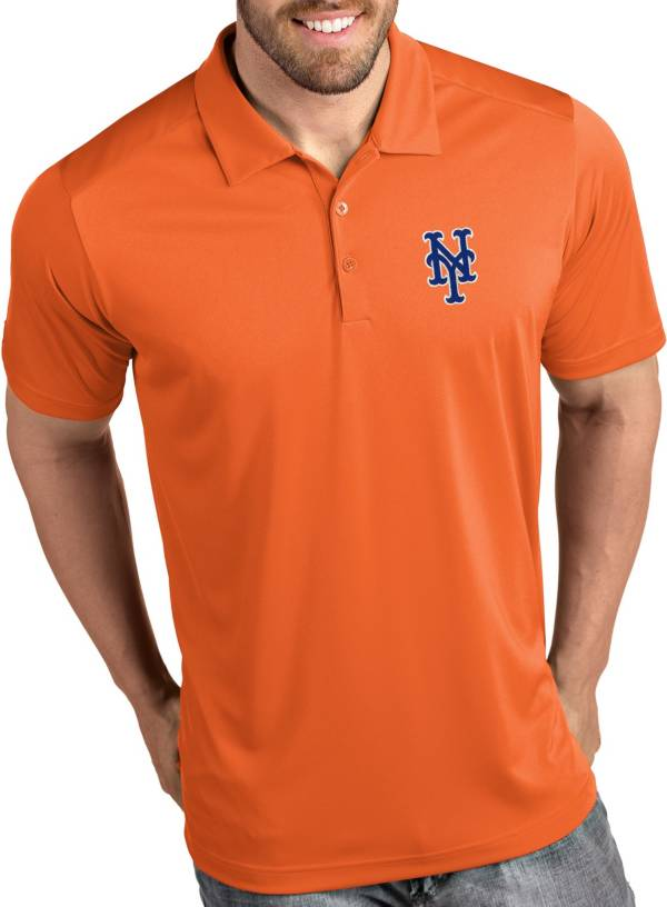 Antigua Men's New York Mets Tribute Orange Performance  Polo product image