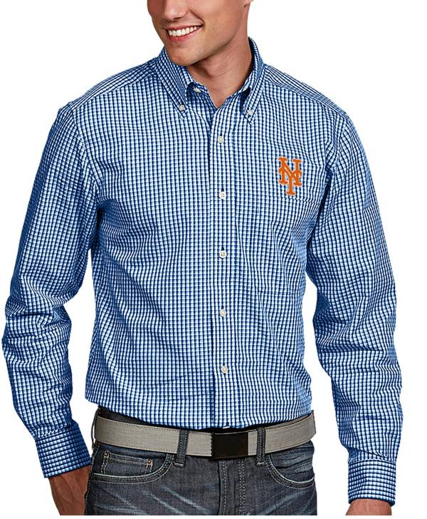 Antigua Men's New York Mets Associate Royal Long Sleeve Button Down Shirt product image