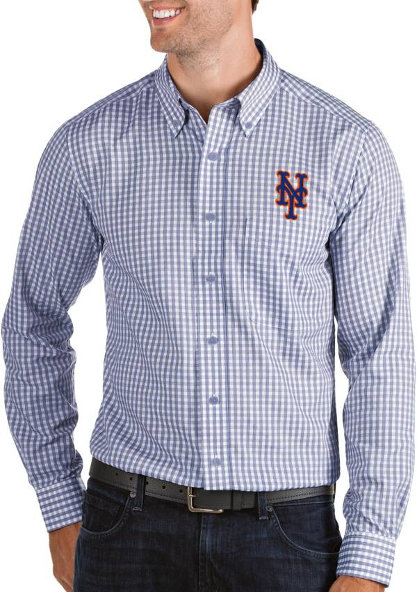 Antigua Men's New York Mets Structure Royal Long Sleeve Button Down Shirt product image